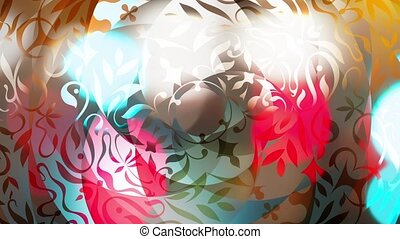Beautiful colored and shiny animation with rotating patterns, reflection of bokeh lights, mirroring effect - Full HD 1080p - 1920x1080