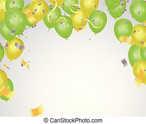 Colored and transparent balloons Abstract background party celebration green confetti