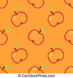 Apple Seamless Pattern Kid's Style Hand Drawn