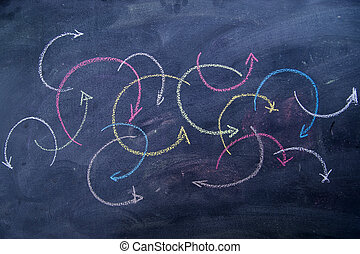 Colored arrows curvilinear - Colorful curved arrows drawn ...