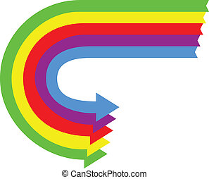 A set of Colored Arrows in a U turn Motion