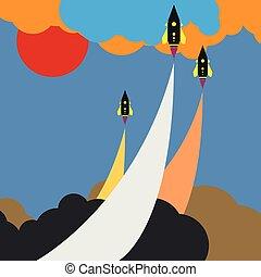 Colored art cartoon rocket jet in cloud sky