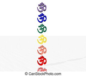 Colored aum / om in chakra column