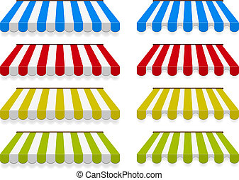 Colored awnings. Vector set. two different types