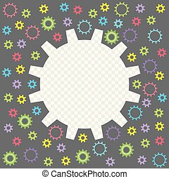 Colored Baby gear isolated on a transparent background. Frame in the form of gears with the possibility of overlay. Vector illustration.