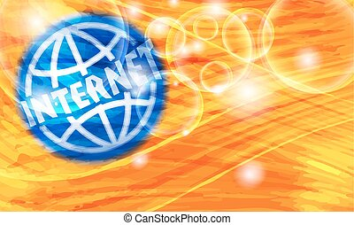 Colored background with abstract pattern and transparent globe