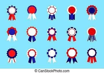Colored badge emblem awards set with ribbon