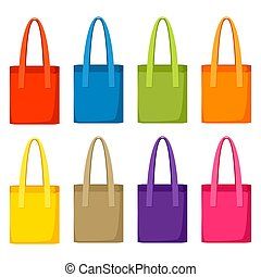 Colored bags templates. Set of promotional gifts and souvenirs