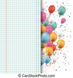 Colored Balloons Checked School Paper