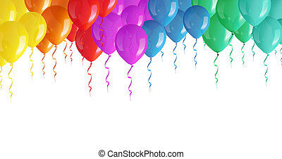 Colored balloons isolated on a white background