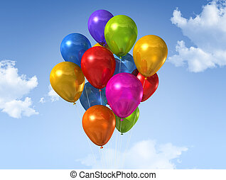 colored balloons on a blue sky