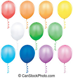 Colored Balloons Singles - colored illustration, vector