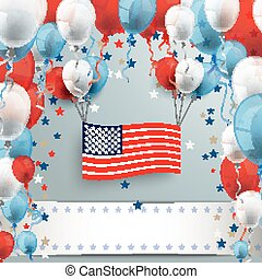 Colored Balloons US-Flag Banner