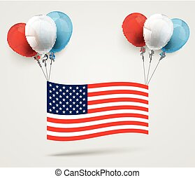 Colored Balloons US-Flag - US-Flag with colored balloons on...