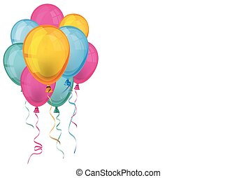 Colored Balloons White Background