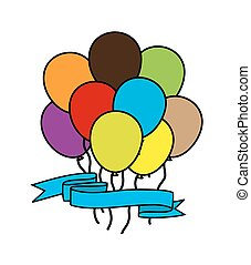 Colored Balloons with Ribbon Banner