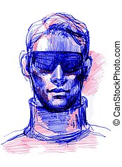 colored ballpoint pens to a portrait of a man in sunglasses