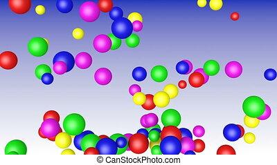 Colored balls fall down