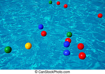Colored balls in a swimming pool