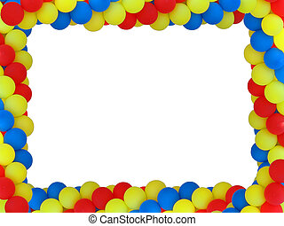 Colored baloon frame with empty plase for birthday portret isolated over white