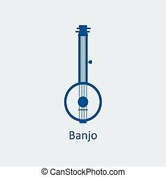 Colored Banjo icon. Silhouette vector icon - Colored Banjo...