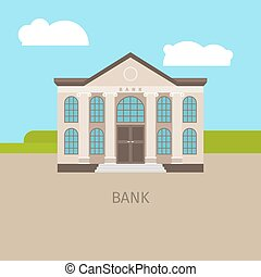 Colored bank building illustration
