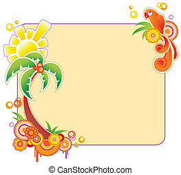 colored banner with palm