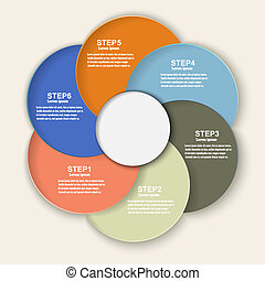 Colored banners as a an element of the circles for infographics.