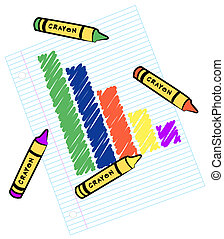 colored bar graph on lined paper