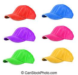 Baseball Caps - colored Baseball Caps isolated on white