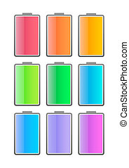 Colored battery icon set - Illustration of an isolated...