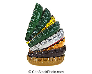 Colored beer bottle caps isolated on white background