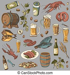colored beer hand drawing set of vector sketches