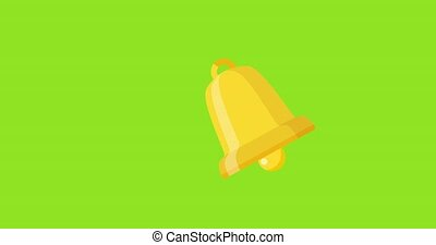 Animated yellow ringing bell icon. Animation, pictogram, motion graphics. Useful for social media, interfaces, infographics, websites. Chroma key, green screen background. 4K HD SD resolution