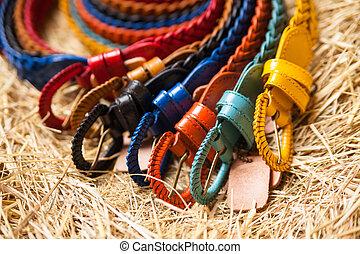 colored belts closeup