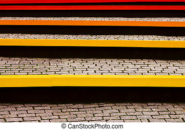 Colored benches and pavers