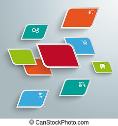 Colored Bevel Rectangles Abstract Infographic