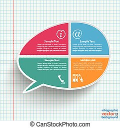 Colored Bevel Speech Bubble 4 Options Checked Paper