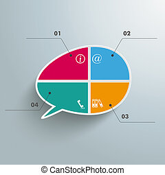 Colored Bevel Speech Bubble 4 Options - Infographic with...