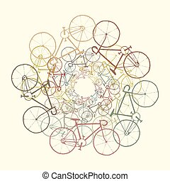Colored bikes. Vector background with bicycles silhouettes