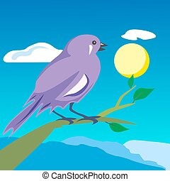 Colored bird on a branch. Vector illustration