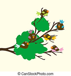 Colored birds on a leafy branch