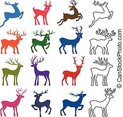 Colored & black deer set