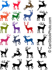 Colored & black outlined deers - Colored & black outlined...