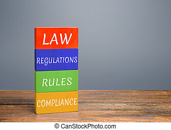 Colored blocks with words law, regulations, rules, compliance. Ease doing business. Quality criteria for goods, services. Protection national domestic producers manufacturers from strong competition