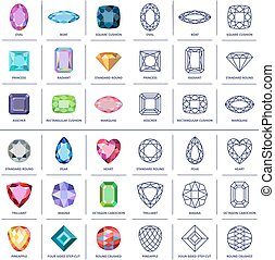 Colored & blueprint outline gems cu - Low poly popular...