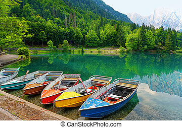 Colored Boats at lake of mountain