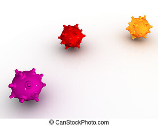 Colored bombs - Colored shiny bombs on a white background