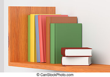 Colored books on wooden bookshelf on white wall