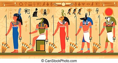 Colored border pattern on egypt theme with ancient egyptian...